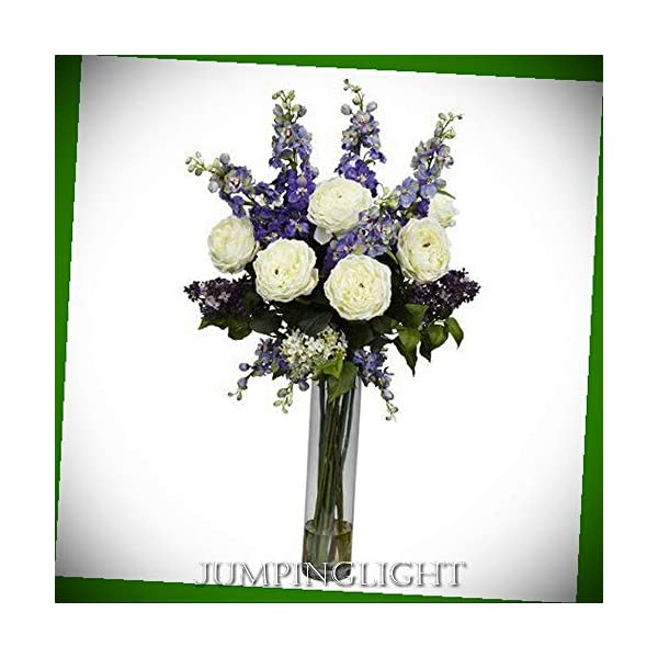 JumpingLight 1220-PP Rose, Delphinium and Lilac Silk Flower Arrangement Artificial Flowers Wedding Party Centerpieces Arrangements Bouquets Supplies
