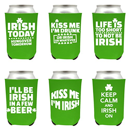 - Shop4Ever St. Patrick's Day Can Coolie Irish Day Beer Drinker Shamrock Can Coolie Sayings Drink Coolers Coolies (Green, 6)