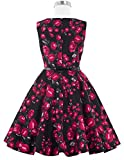 Kate Kasin Girls Sleeveless Vintage Print Swing Party Dresses