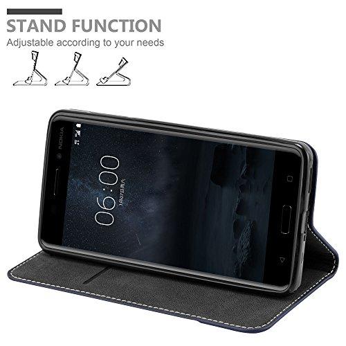 Cadorabo - Funda Estilo Book para >                                  Nokia 6                                  < de Diseño gamuza-Artificial / Cuero-Artificial con Tarjetero, Función de Soporte y Cierre Magnético Invisible