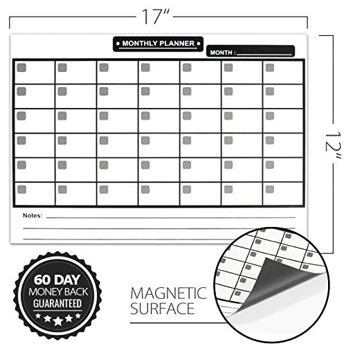 Magnetic Dry Erase Calendar for Refrigerator [17x12] & Weekly Magnetic Calendar | Monthly Whiteboard Wall Calendar and Fridge Board Planner | Dry Erase Markers & Eraser | 2019 Home or Office Photo #5