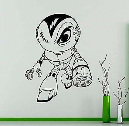 Amazon.com: Robot Ninja Wall Vinyl Decal Cyber Warrior Wall ...
