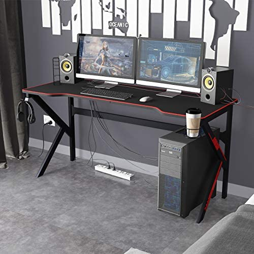 DlandHome 63 inches Gaming Desk w/All Covered Mouse Pad/USB Charge Rack/Headphone Holder/Cup Holder Multifunction Computer Desk/Gaming Table