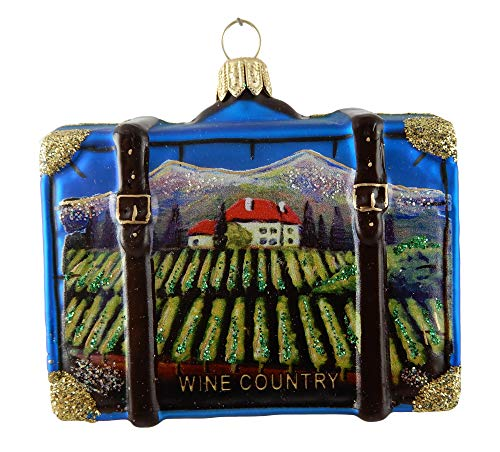 Wine Country Suitcase Tuscany California Napa Valley Germany Italy Burgundy France Grapes Polish Glass Christmas Ornament Travel Souvenir Decoration