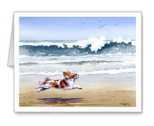Cavalier King Charles Spaniel at the Beach - Set of 10 Note Cards With Envelopes