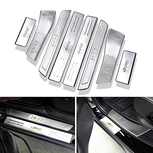 KPGDG 8 PCS Fit for Jeep Grand Cherokee 2014-2018 Inner External Stainless Steel Door Sill Scuff Plate Guard Sills Protector Trim