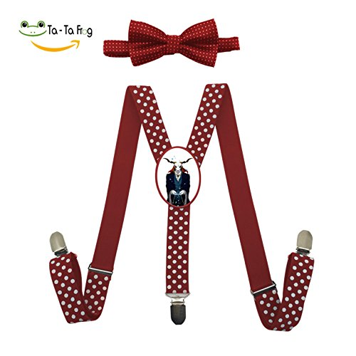 Elk Tie Backs (Grrry Children Mr.deer Zombie Adjustable Y-Back Suspender+Bow Tie Red)