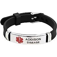 TGLS Stylish Medical Alert ID Bracelet Laser Engraved Adjustable Silicone Bracelets Wristband for Men Women Emergency…