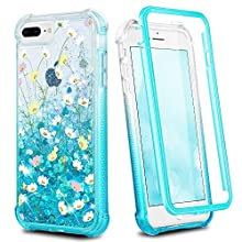 Ruky iPhone 8 Plus Case, iPhone 7 Plus Case, Full Body Glitter Floral Clear Cover with Built-in Screen Protector Shockproof Protective Phone Case for iPhone 6 Plus 6s Plus 7 Plus 8 Plus,Flower Bouquet