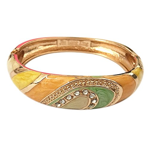 - UJOY Vintage Cloisonne Bracelet Handcraft Colors Enamel Indian Style Gold Plated Oval Hinge Bangle for Jewelry Gifts 88A26 Orange