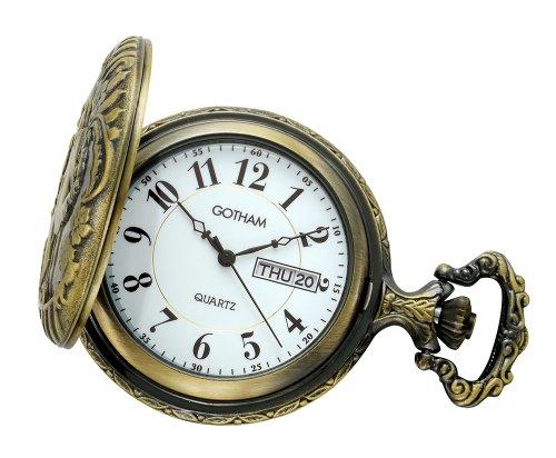Gotham-Mens-Antiqued-Bronze-Tone-Locomotive-Design-Day-Date-Quartz-Covered-Pocket-Watch-GWC14085G