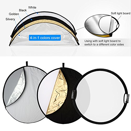 Selens 5-in-1 43 Inch (110cm) Portable Handle Round Reflector Collapsible Multi Disc with Carrying Case for Photography Photo Studio Lighting & Outdoor Lighting by Selens (Image #3)