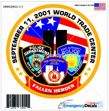 911 Memorial 4.25 inch decal: Fallen Hero's Police, Fire & Port Authority -
