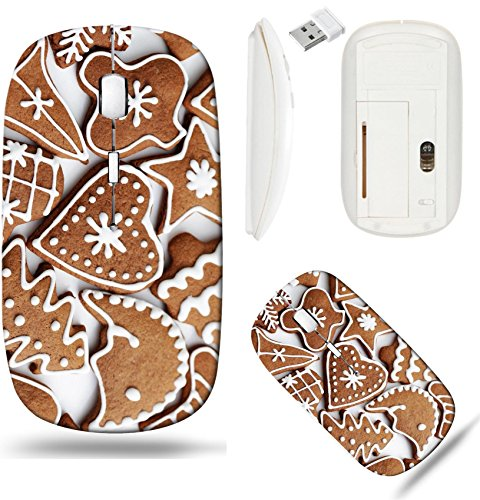 (Liili Wireless Mouse White Base Travel 2.4G Wireless Mice with USB Receiver, Click with 1000 DPI for notebook, pc, laptop, computer, mac book homemade various gingerbreads sweet food IMAGE I)
