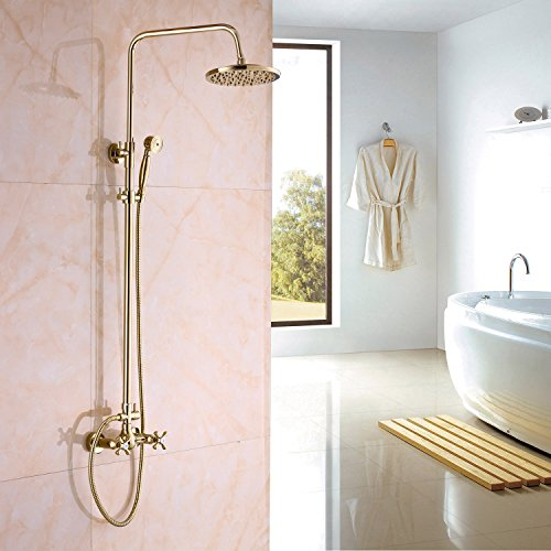 Rozin Gold Polished Rainfall Shower Mixer Faucet Set with Handheld Spray (Polished Gold Shower)