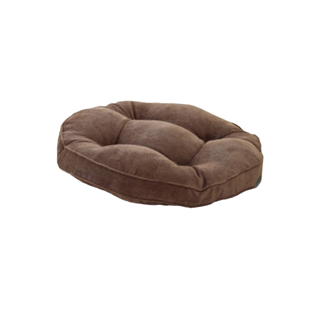 Jili Online Round Thickened Corduroy Soft Breathable Chair Seat Ground Cushion Mat Wave Window Home Office Car Cushion Pads - Coffee, 40x40cm