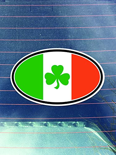 [Shamrock Irish Flag Vinyl Decals Sticker ( Two Pack ) | Cars Trucks Vans Walls Laptops Cups | Printed | 2 - 4 Inch Decals |] (China National Costume Name)