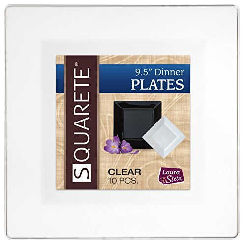 Squarete 9.5'' inch Clear Dinner Square Party Plates Hard Plastic Elegant Disposable 10 Square Dinner Plates Per Package Pack of 4