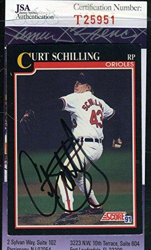 CURT SCHILLING 1991 SCORE JSA COA Hand Signed Authentic Autographed