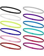 Miss-shop Hoofdbanden voor sport, elastische haarbanden, 12 stuks, dunne antislip hoofdbanden, zweetband voor hardlopen, tennis, voetbal, golf