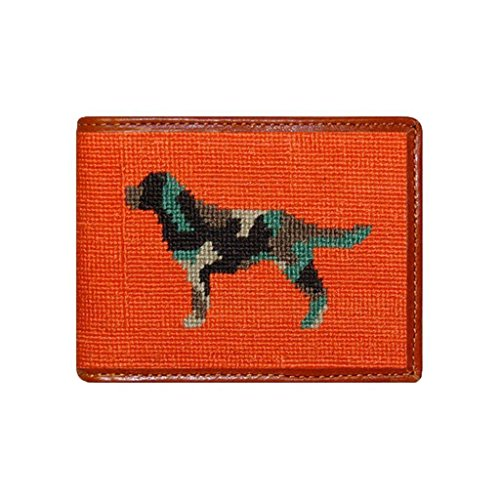 Camo Retriever Needlepoint Bi-Fold Wallet in Orange by Smathers & Branson