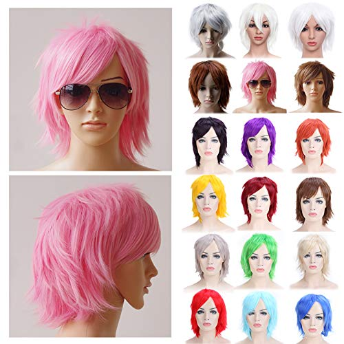 Anime Cosplay Wig Pink Unisex Short Wigs with Oblique Bangs Straight Fluffy Hair with Volume Up Hair Tail Heat Resistant Synthetic Fiber