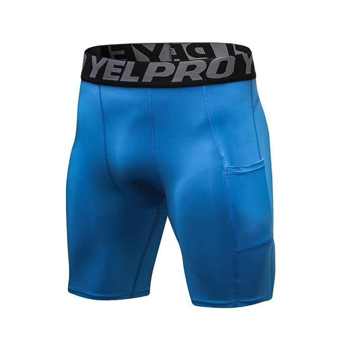Deporte Pantalones Entrenamiento Fitness de Hombre Compresión Secado Rápido  Transpirable Cortos de Verano para Hombres Pantalones Aptitud del Deporte  ... f9daf2de6546