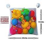 Bath Toy Organizer - Large Storage Net Bag Holder for Bathtub Toys | Bonus Heavy Duty Suction Hooks | Bonus eBook of Fun Bathtime Activities, Making Bath Time Safe and Fun for Baby Boys and Girls