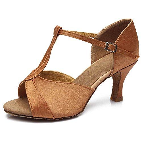 HIPPOSEUS Ballsaal Tanzschuhe/Standard Pailletten Latein Dance Schuhe/Damen Tanzschuhe,DE259 7cm-absatzhöhe Braun
