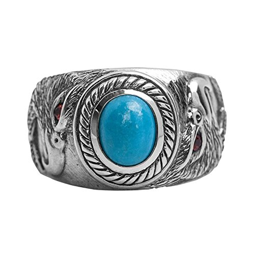 Bishilin Ring for Men Silver Plated Turquoise with Red Eye Eagle Friendship Rings Silver Size 8.5 by Bishilin