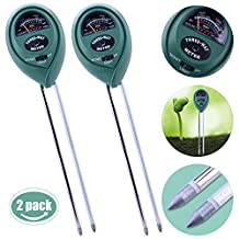 Kuman 2 Packs 3-in-1 Soil Moisture Meter Light and PH acidity Tester Plant Tester Indoor Outdoor Soil Moisture Sensor Meter Plant Care Hygrometer Water Monitor for Garden Farm Lawn KP01