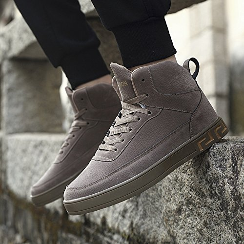 Men's Shoes Feifei Winter Leisure Fashion Trends High Help Plate Shoes 3 Colors (Color : Khaki, Size : EU39/UK6.5/CN40)