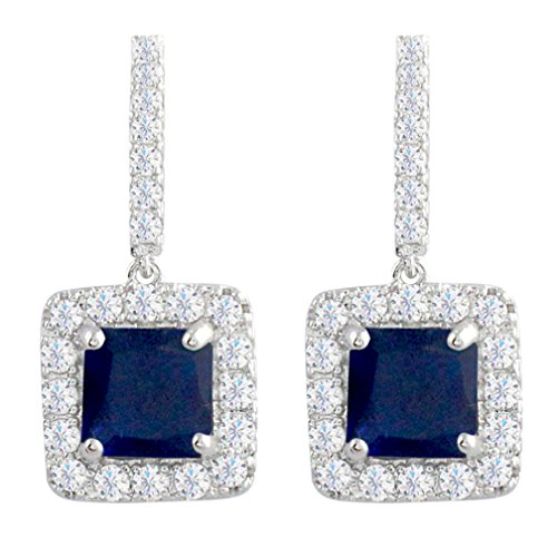 eco Royal Blue Drop Earrings Sapphire Color Square Cubic Zirconia ()