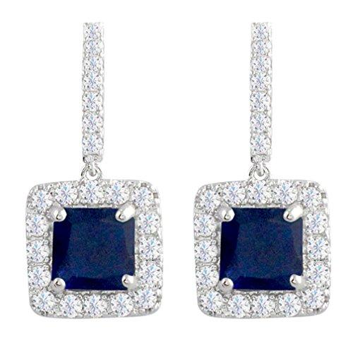 Art Deco Drop - SELOVO Classic Art Deco Royal Blue Drop Earrings Sapphire Color Square Cubic Zirconia