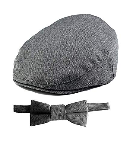 Born to Love - Baby Boy's Hat Grey Herringbone Driver Page Boy Cap (XS 49 cm, Gray with Bow)