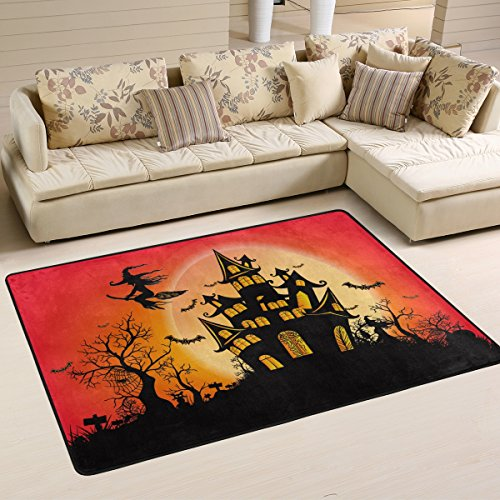 Naanle Happy Halloween Area Rug 2'x3', Witch Castle Moon Polyester Area Rug Mat for Living Dining Dorm Room Bedroom Home Decorative