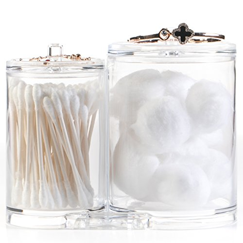 Huji Clear Acrylic Cosmetic Organizer Lids Cotton Ball Swab Make up Wipes Pads Bathroom Accessories Container (1 Organizer, Clear Acrylic Cosmetic (Clear Acrylic Lid Organizer)