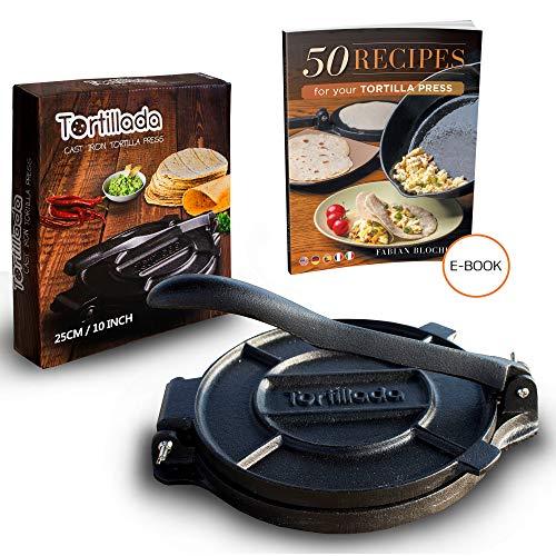 Tortillada - Premium Cast Iron Tortilla Press with Recipes (10 Inch) / Biggest Tortilla Press in the Market (10 Inch)
