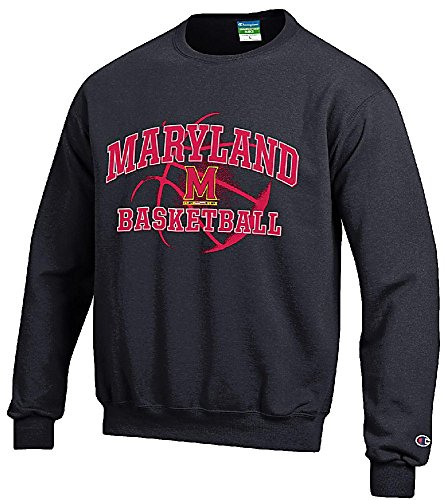 Maryland Terrapins Black Basketball Powerblend Screened Crew Sweatshirt by Champion (XXL=52)