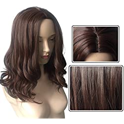 Namecute Shoulder Length Curly Wig Brown Human Hair mix Synthetic Wigs + Free Wig Cap
