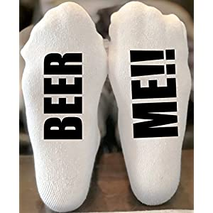 Beer Me Funny Novelty Funky Crew Socks Men Women Christmas Gifts Slipper Socks Stocking Stuffer Bring Me A Cold Beer Socks with Writing