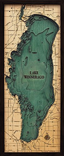 Lake Winnebago, Wisconsin 3-D Nautical Wood Chart, 13.5