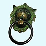 Antiques World Lion Face Brass Old Lovely Antique Beautiful Home Décor Greenish Themed Door Knocker AWUSADK 02