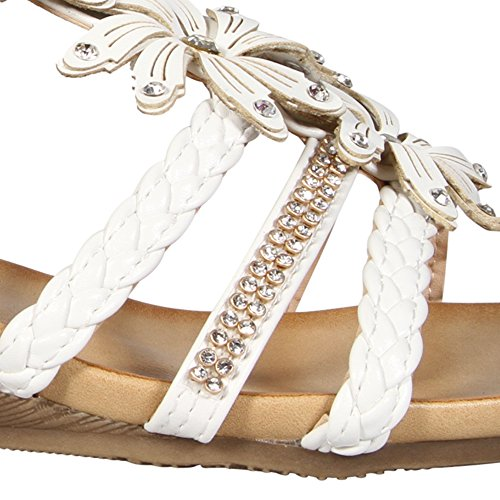 party abito spiaggia diamante Strappy fibbia estivi floreale sera basso Mid donne shoe da casual sandali White chiusura tacco a scarpe sandali Gladiatore fiore WqSZy7I0