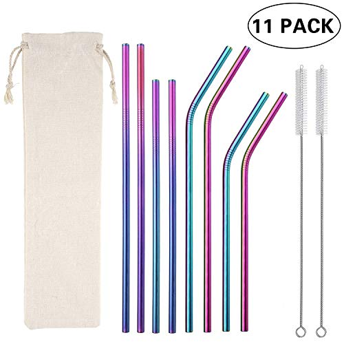 """Multicolor Colorful Stainless Steel Straws,Set of 8 10.5"""" 8.5"""" Reusable Rainbow Multi-Colored Drinking Straws for 30/20oz Tumbler Cold Beverage,FDA-Approved Straws(4 Straight+4 Bent +2 Brushes+1 Bag)"""