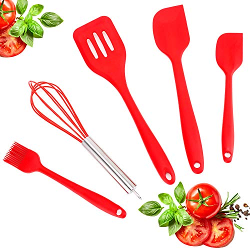Silicone Kitchen Utensils Set, Premium 5 pcs Heat-Resistant Silicone Cooking Utensils, Non-Stick Kitchen Utensils-Baking BBQ Cooking Tool Kit With Spatula, Basting Brush,Whisk and Turner(red)