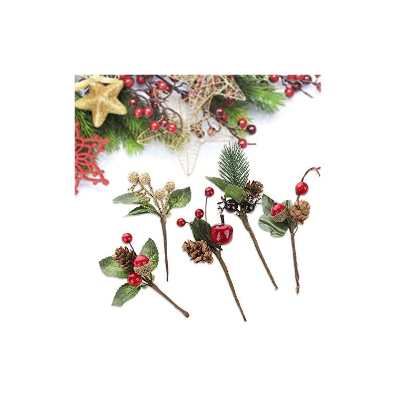 silk flower arrangements sylots 20pcs artificial pine picks mini stimulation red berries branches flower ornaments for christmas, thanksgiving fall decorations, autumn decor,crafting and displaying