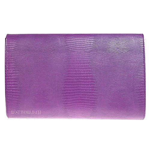 Bag Bag Print Shoulder Evening Animal Girly HandBags Envelope Flat Wocharm Croc Purple Ladies Clutch ztq7cw