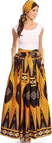 Wear Wrap Around Skirt (Sakkas 16317 - Asma Convertible Traditional Wax Print Adjustable Strap Maxi Skirt | Dress - 1132-OrangeBrown - OS)