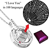 Glexal I Love You Necklace, 100 Languages Projection on Round Onyx Stainless Steel Pendant Never Faded Loving Memory Collarbone Necklace 1 Pcs